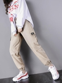 運動褲法式工裝褲女寬鬆bf束腳顯瘦ins國潮高腰運動帥氣休閒嘻哈女褲子 可然精品