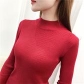現貨白色 紅色 灰色 長袖針織衫 長袖毛衣 半高領毛衣打底衫女長袖短款套頭針織衫F2F024日韓屋