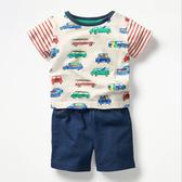 條紋拼接汽車印花短袖上衣+短褲 短袖套裝 橘魔法 Baby magic 現貨 男童 童裝