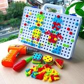 工程玩具男孩工具箱電鉆螺絲拼圖女孩禮物提手工程玩具仿真擰螺絲游戲 嬡孕哺 免運