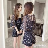連身褲 2020夏季新款小個子連身衣女裝顯瘦網紅雪紡碎花闊腿連身短褲套裝