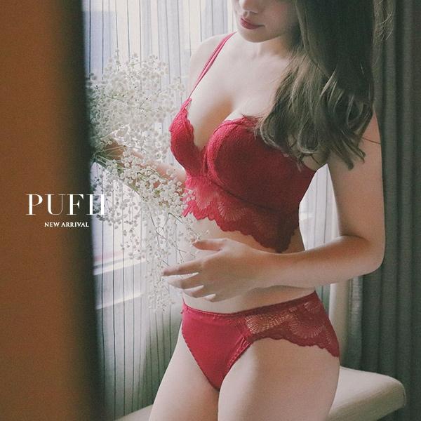 限量現貨◆PUFII-成套內衣性感蕾絲雙肩帶拖高集中無鋼圈內衣褲組4色1130 現+預 【CP13894】