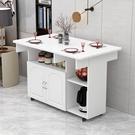 摺疊餐桌家用小戶型長方形多功能餐邊櫃儲物櫃可行動吃飯桌子摺疊 夢幻小鎮
