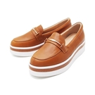 【南紡購物中心】WALKING ZONE (女)金屬扣厚底樂福鞋鬆糕鞋-棕(另有米)
