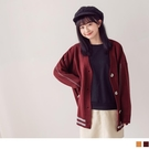 《FA2247》撞色織紋木紋釦寬長版針織外套/罩衫 OrangeBear