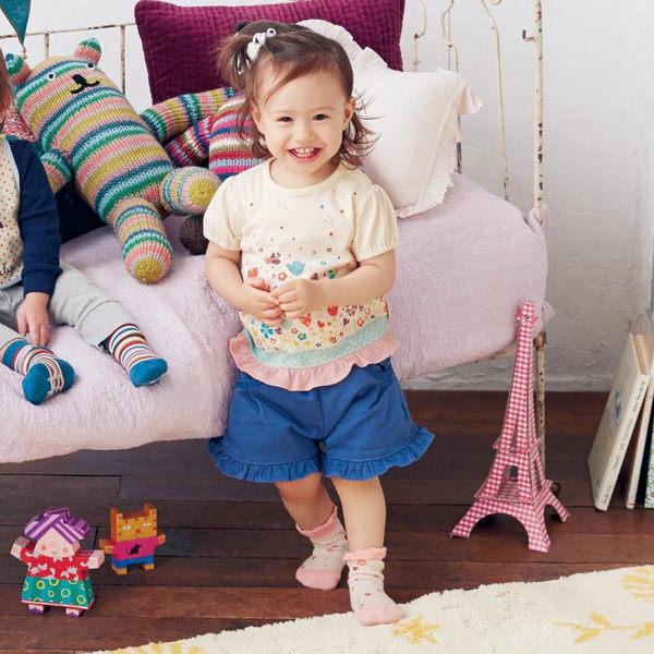 Japan Imports 日本 嬰兒止滑襪三雙入組 - 粉嫩條紋動物