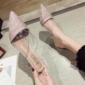 拖鞋女外穿2019新款韓版百搭尖頭透明絨面高跟鞋細跟性感仙女涼拖居享優品