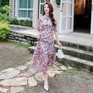大尺碼洋裝 L-5XL 芙蓉緞拼接收腰顯瘦旗袍領連衣裙 #wm1278 @卡樂@