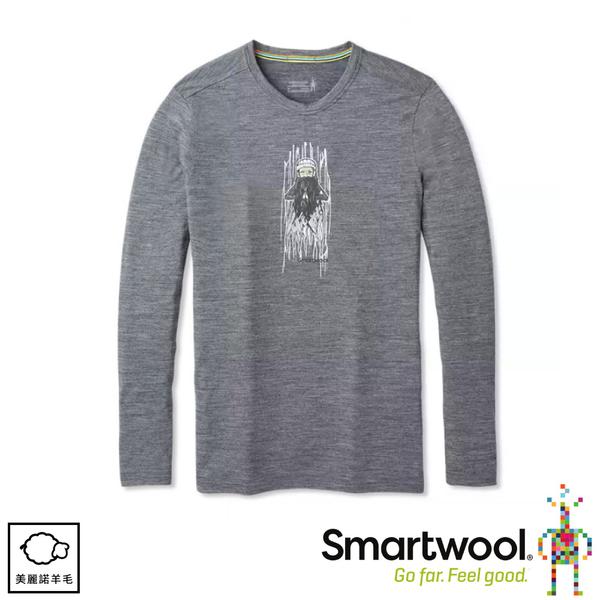 【SmartWool 美國 男 Merino Sport 150塗鴉長袖T恤《山中智者/灰》】SW019022/圓領T恤/休閒衫