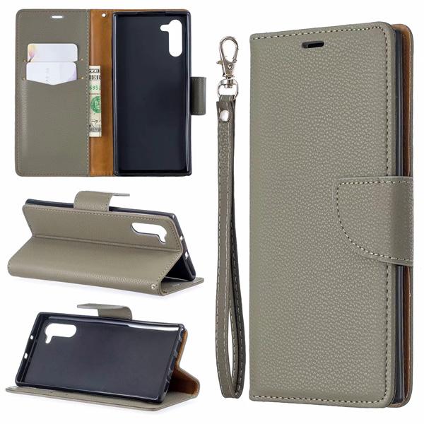 三星 Note10 Note10+ 純色荔枝紋 皮套 手機皮套 插卡 支架 掛繩 掀蓋殼