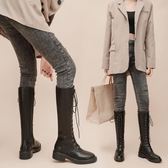 膝上靴 超火ins長筒女靴2020新款英倫風加絨系帶粗跟馬丁靴網紅百搭單靴