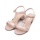 LUZZI 羊皮T字粗跟涼鞋 粉 21052-2 女鞋