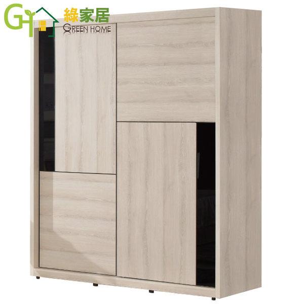 【綠家居】尼達克 時尚4.9尺木紋推門式衣櫃組合(二色可選+三抽屜+開放式層格+內鏡)