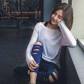 寬松健身房運動服瑜伽速干長袖女T恤罩衫—聖誕交換禮物