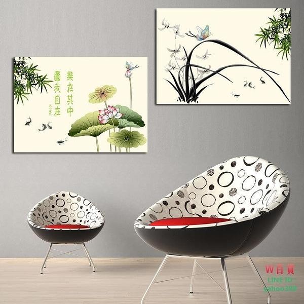 現代裝飾畫現代無框畫 客廳版畫 無框畫 壁畫  荷塘(W165)