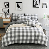 Hoi!水洗棉床包被套枕套-雙人四件組-格紋灰