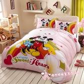 DI0014☆迪士尼系列☆米奇米妮/精梳純棉5尺標準雙人薄床包組/粉紅色/可愛/Disney授權—佛你居家