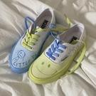 小黃桃2021原創新品手繪鞋童趣復古涂鴉鴛鴦鞋ins港味帆布鞋女夏 寶貝計畫 618狂歡
