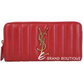 YSL Saint Laurent VICKY 絎縫小羊皮拉鍊長夾(紅色) 1930070-54
