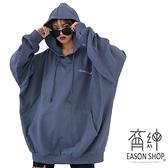 EASON SHOP(GW7598)實拍大口袋長版OVERSIZE連帽T恤裙連身裙落肩寬鬆長袖素色棉女大尺碼撞色字母內搭