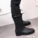 韓版加絨中筒雨鞋防雨套鞋男式防水雨鞋秋冬男女中跟水靴防滑膠鞋 怦然新品