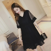 洋裝 孕婦夏裝洋裝新款時尚蕾絲中長款上衣大碼夏季韓版寬鬆短袖裙子