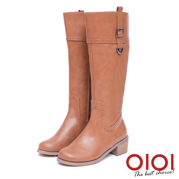 長靴 時尚前線金屬釦環長筒跟靴(棕) *0101shoes【18-1777br】【現貨】