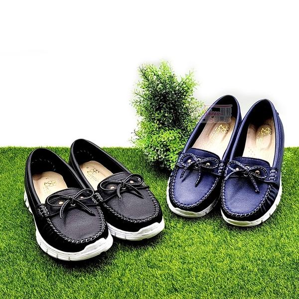 包鞋.車縫 軟 輕 蝴蝶結MIT平底莫卡辛鞋.黑/藍【鞋鞋俱樂部】【021-3191】