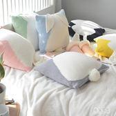 抱枕 針織北歐沙發裝飾球球腰墊地板靠墊子萌萌兔宿舍 QX4694 『男神港灣』
