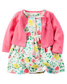 【美國Carter's】套裝2件組-繽紛小碎花包屁式洋裝+純棉小外套 121H128