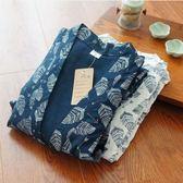 純棉布提花甚平和服日式睡衣春夏秋男睡衣寬松和風【轉角1號】