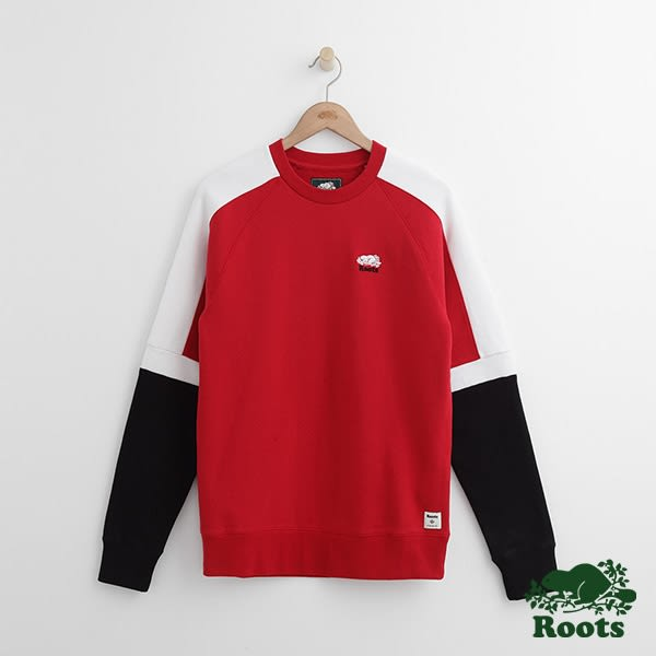 Roots - 男裝 - ROOTS 雙臂色塊圓領上衣 - 紅色