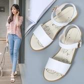 夏季涼鞋 軟底防滑時尚百搭媽媽鞋搭扣真皮鞋《小師妹》sm1681