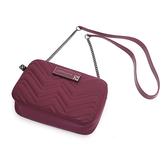 Petite Jolie  V字壓紋肩背鏈帶相機包-酒紅色