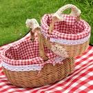 藤編籃子手提日式買菜雞蛋籃收納籃購物籃小竹籃禮品籃野餐水果籃 安妮塔