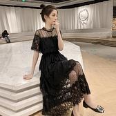 夏季新款網紗拼接收腰中長款蕾絲短袖洋裝女溫柔chic仙女裙 秋季新品