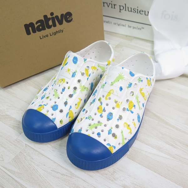 Native JEFFERSON PRINT YOUTH中童鞋 洞洞鞋151001018970 藍【iSport愛運動】