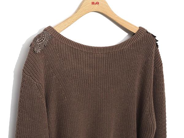 秋冬下殺↘5折[H2O]前後兩面穿V領大蕾絲拼接線衫 - 卡其/粉/咖啡色 #9650006