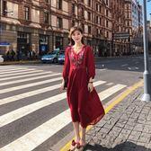 8103復古文藝波西米亞泰國潮牌大碼民族風刺繡連身裙ZLE518-A朵維思