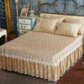 蕾絲床裙 韓版天鵝絨床裙床罩短毛絨床裙公主蕾絲床墊套 KB3318【野之旅】TW