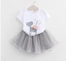 短袖套裝 女童閃亮小貓立體花朵T恤+紗裙套裝 S76002