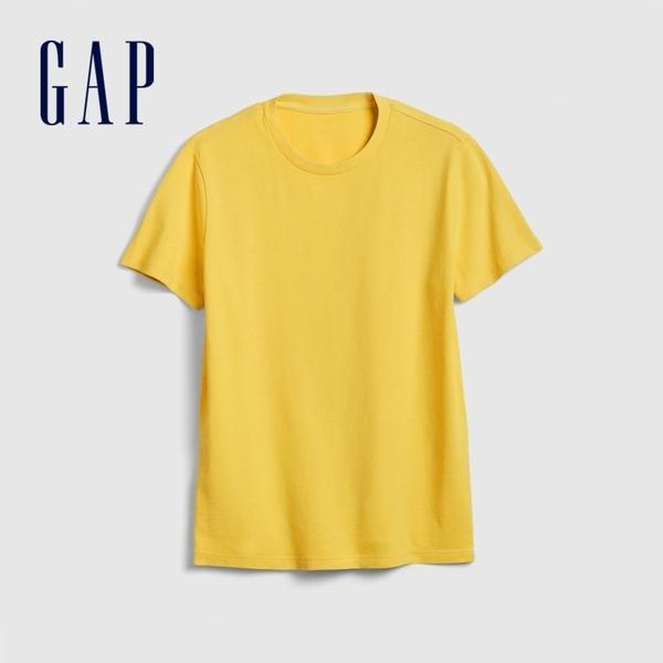 Gap男裝簡約風格舒適款短袖T恤573397-黃色