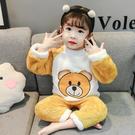 兒童秋冬加厚法蘭絨家居服套裝小童女寶寶珊瑚絨睡衣套裝女孩冬季