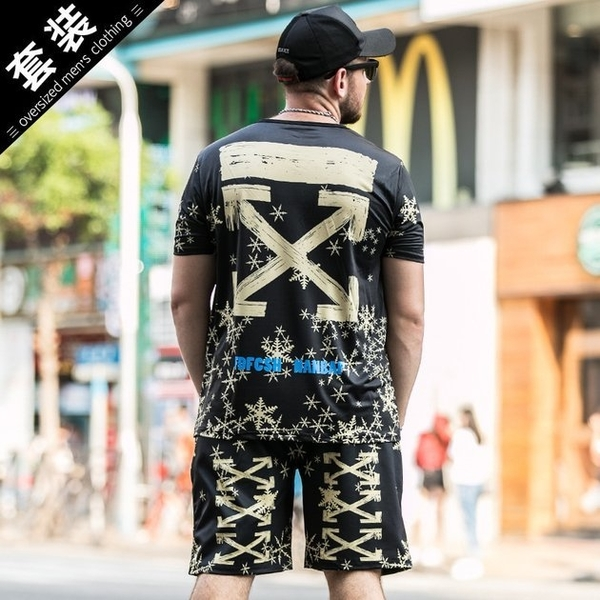 FINDSENSE品牌監製 大尺碼男裝 2019新款夏季大碼短袖冰絲T恤套裝個性