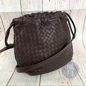 BRAND楓月 BOTTEGA VENETA BV 245590 經典編織 咖啡色 棕色 束口包 側背包 肩背包
