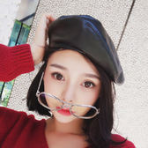 【TT】韓國潮皮質平頂貝雷帽 女秋冬天韓版百搭蓓蕾畫家帽子 黑色英倫休閒帽