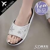 厚底鞋 正韓製 古著星星 爆裂紋皮革 舒壓 超Q乳膠 涼鞋【F712936】二色 SD韓美鞋