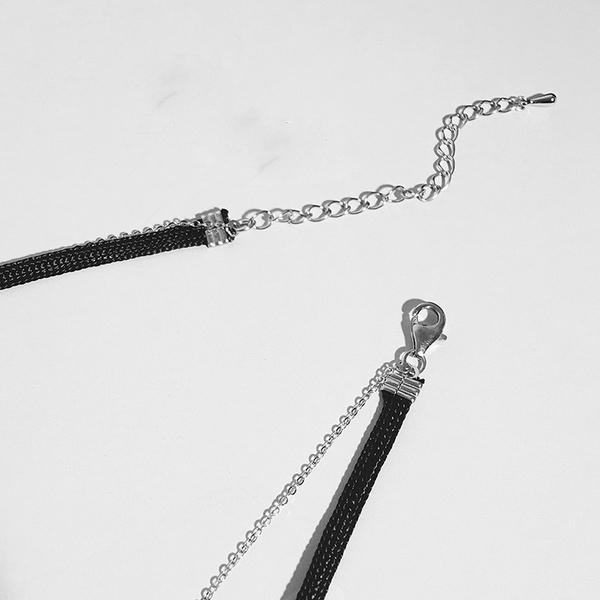 Qmishop 韓版 簡約雙層皮頸鍊鑲鑽短項鍊【QG1976】
