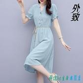短袖棉麻裙子 2020新款夏天收腰顯瘦氣質輕熟風純色亞麻襯衫連身裙洋裝 OO12001『科炫3C』