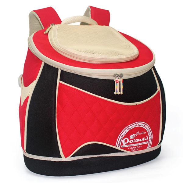 *~寵物FUN城市~*DAISUKI CS03-102MR SERIES後背包寵物袋【MR紅黑-M號】雙肩後背式寵物袋